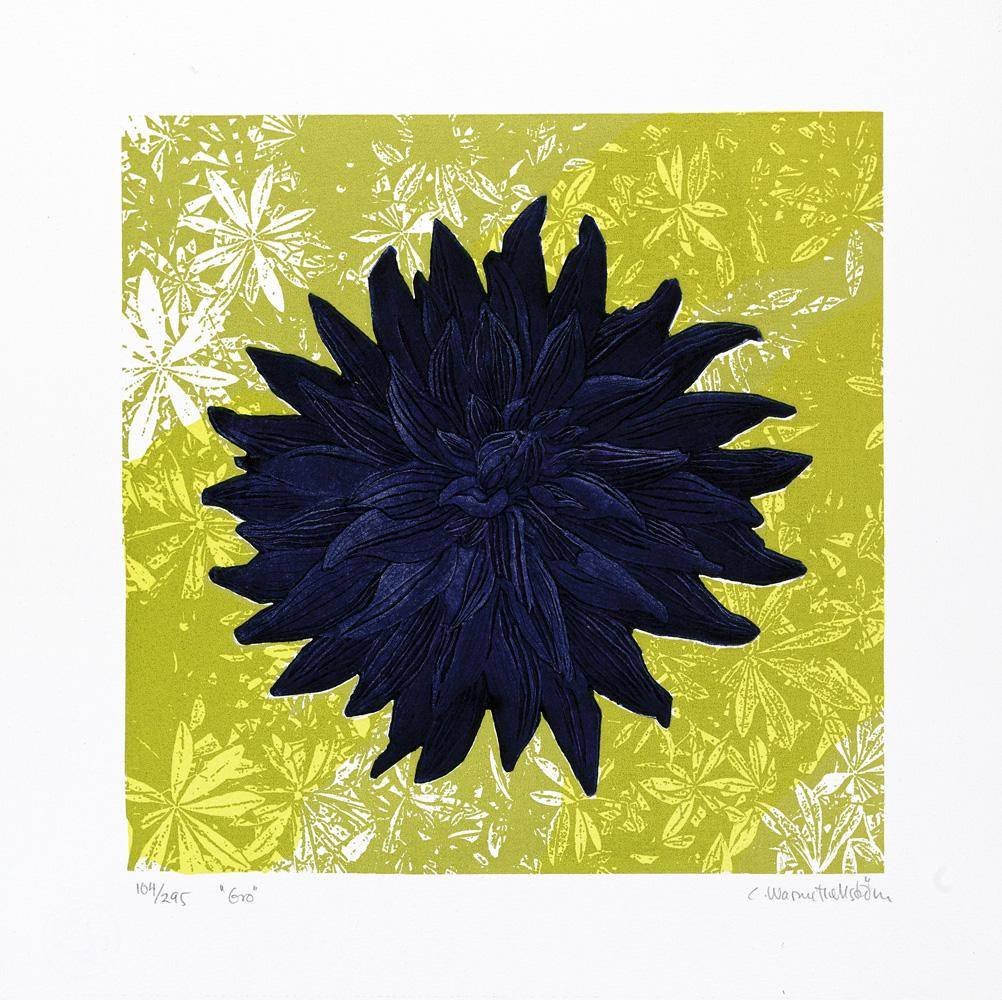Konstnär Catharina Warme Hellström. Konstverk benämning CWH2 'Gro', blandteknik, pappersmått: 38,5x38,5 cm, bildmått: 29×29 cm, upplaga 295. Våga Se - Konst