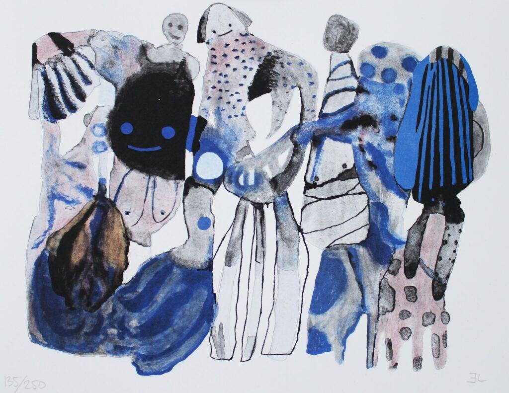 Emma Larsson konstnär. Konstverk benämning EL3 'Slipping into dreamland', litografi, 41 x 31,6 cm, upplaga 250 - Våga Se Konst