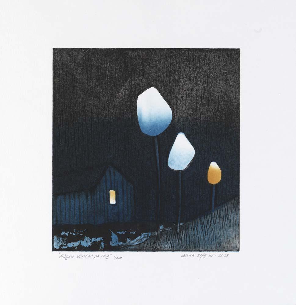 Konstnär Helena Elfgren. Konstverk benämning HE5 'Någon väntar på dig', collografi, pappersmått: ca 35x33 cm, bildmått: 21x22 cm, upplaga 200. Våga Se - Konst