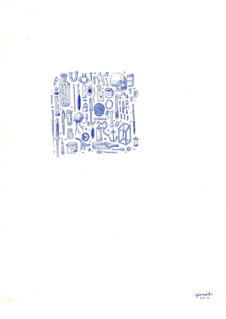 Vinst 2019, omgång 1 skapad av Jacob Andersson. Teknik: Bläck på papper Pappersmått: 28 x 21 cm Bildytan varierar mellan alla verk.