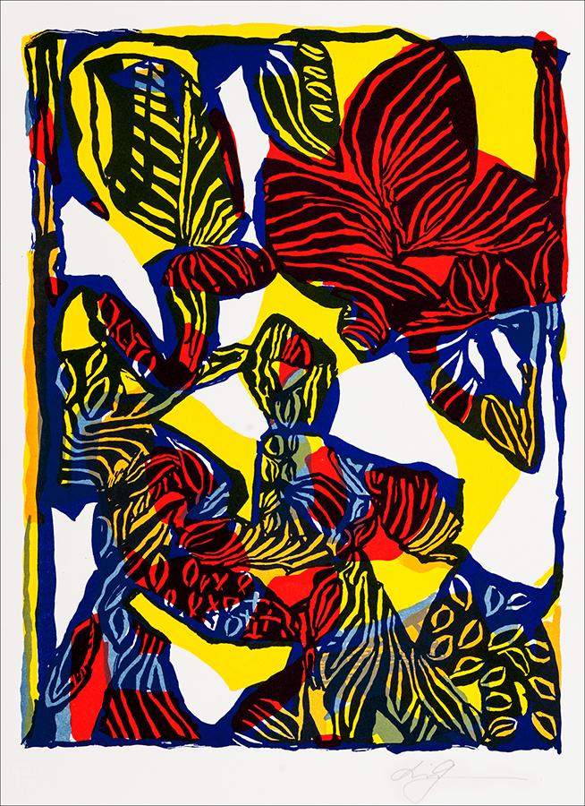 Konstnär Lis Gram. Benämning LIGR4 'Fabeldjur 4', litografi, 29×38 cm, upplaga 295. Våga Se - Konst