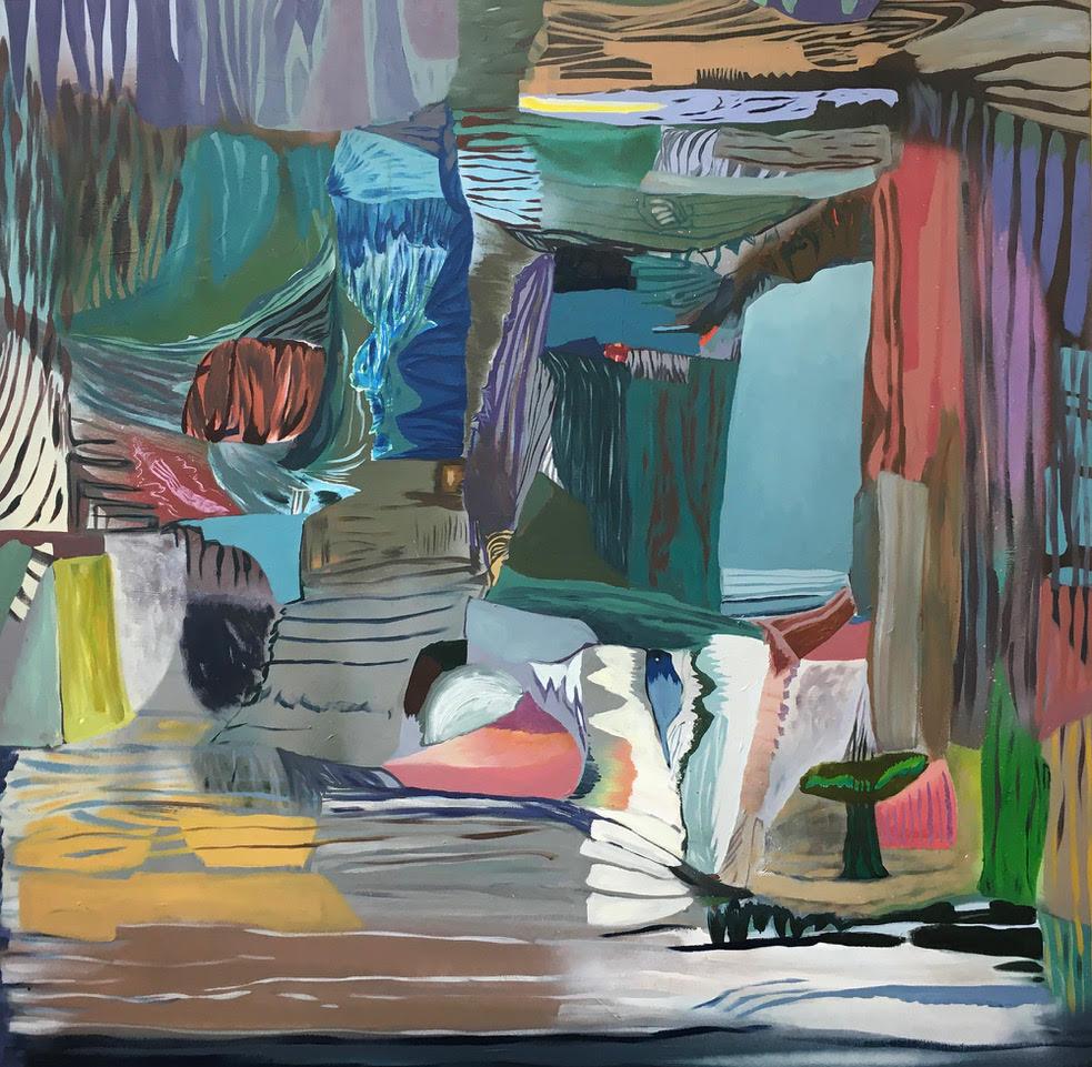 Högvinst Våga Se - Konst konstlotteri 2020. Marie Dahlstrand. 'Here and there'. Akryl, tusch, sprayfärg på duk, 100x100 cm