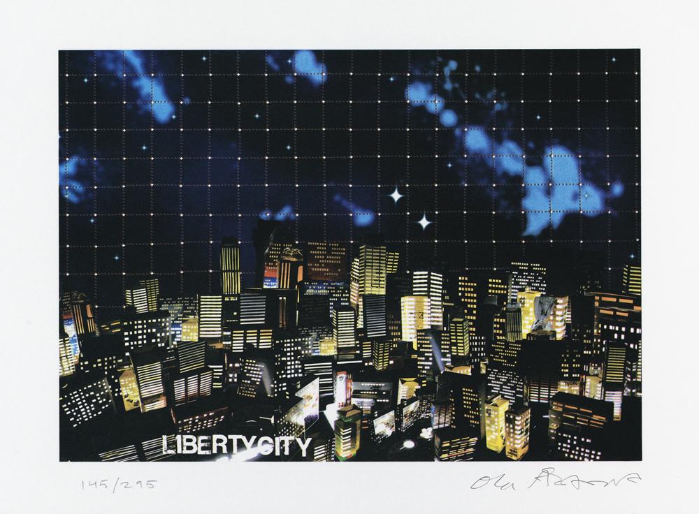 Konstnär Ola Åstrand. Konstverk benämning OÅ3 'Liberty City', Litografi, pappersmått: 44x32 cm, bildmått: 36x25 cm, upplaga 295. Våga Se - Konst