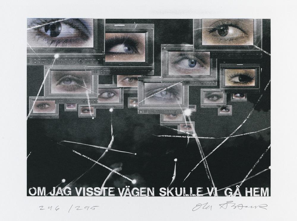 Konstnär Ola Åstrand. Konstverk benämning OÅ4 'Om jag visste vägen skulle vi gå hem', litografi, pappersmått: 44x32 cm, bildmått: 36x25 cm, upplaga 295. Våga Se - Konst