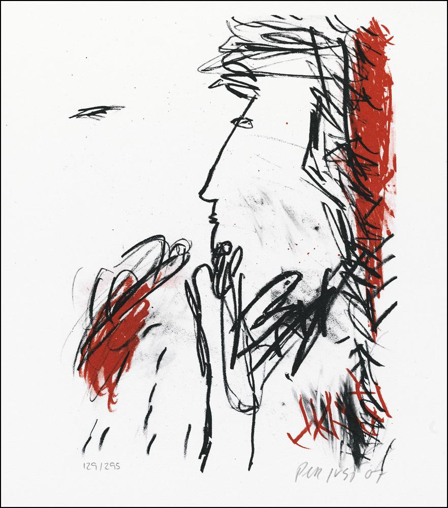 Konstnär Per Just. Konstverk benämning PEJU5 'Samtal 5', litografi, 21×25 cm, upplaga 295.  Våga Se - Konst