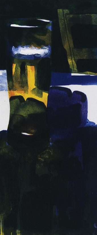"""Konstnär Peter Sternäng. Konstverk benämning PEST4 """"Utan titel 4"""", litografi, pappersmått: 28×42,5 cm, bildmått: 15×35 cm, upplaga 295. Våga Se - Konst"""