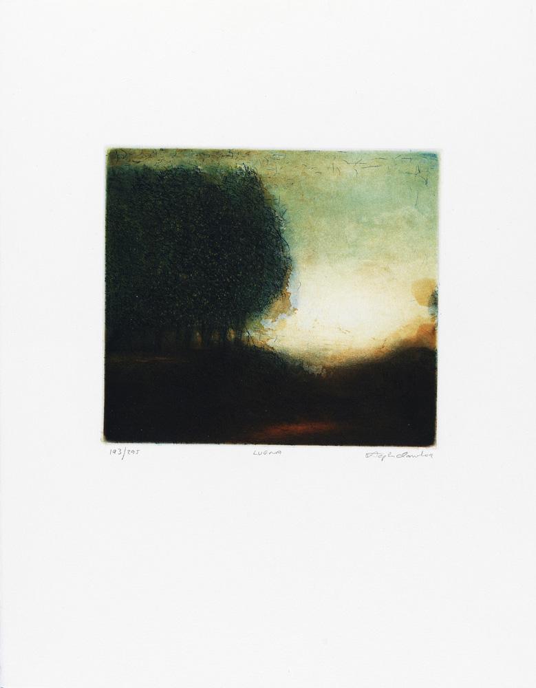 Konstnär Stephen Lawlor. Konstverk benämning SL1 'Lugna', litografi, pappersmått: 27x32,5 cm, bildmått: 15x19,5 cm, upplaga 295. Våga Se - Konst