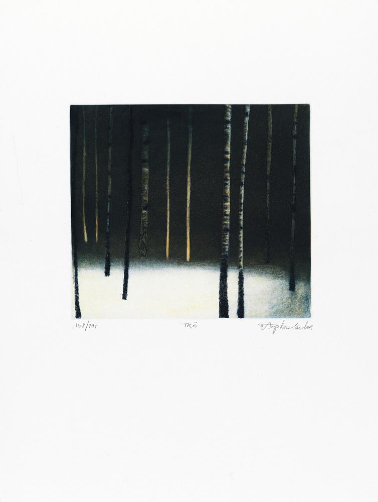 Konstnär Stephen Lawlor. Konstverk benämning SL4 'Träd', litografi, pappersmått: 27x32,5 cm, bildmått: 15x19,5 cm, upplaga 295. Våga Se - Konst